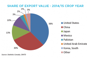 Canola Market Share Of Export Value - 2014/15