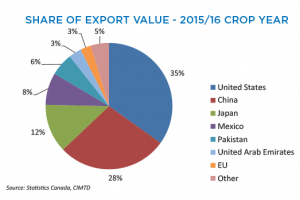 Canola Market Share Of Export Value - 2015/16