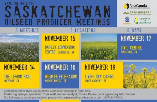 Save the Date for Saskatchewan Oilseed Producer Meetings