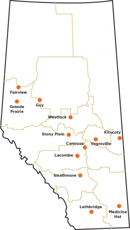 A map of Alberta with each of the Powering Your Profits Tour locations marked