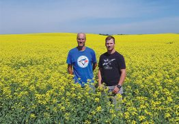 Dane Lindholm (right) manages Lindholm Seed Farm with his father, Craig, in New Norway, Alberta. They use a four-year rotation to help protect genetic traits, such as clubroot resistance, that are important to their farm business.