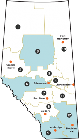 A map of Alberta showing the 12 canola regions