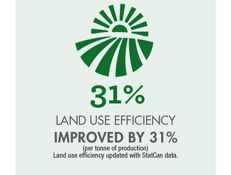 Land use efficiency improved by 31%