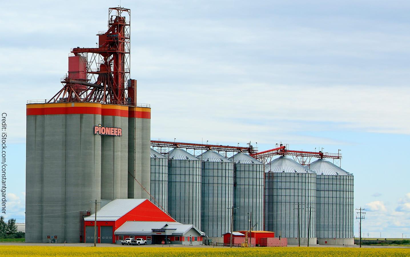 Grain elevator in a canola field