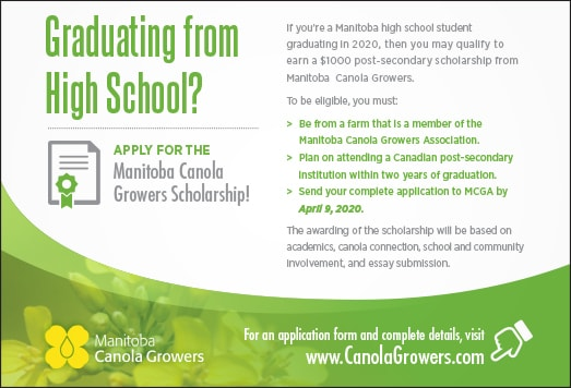Graduating from High School? Apply for the Manitoba Canola Growers Scholarship!