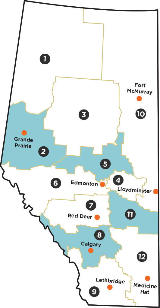 alberta map of regions you must grow canola in to be eligible for nomination