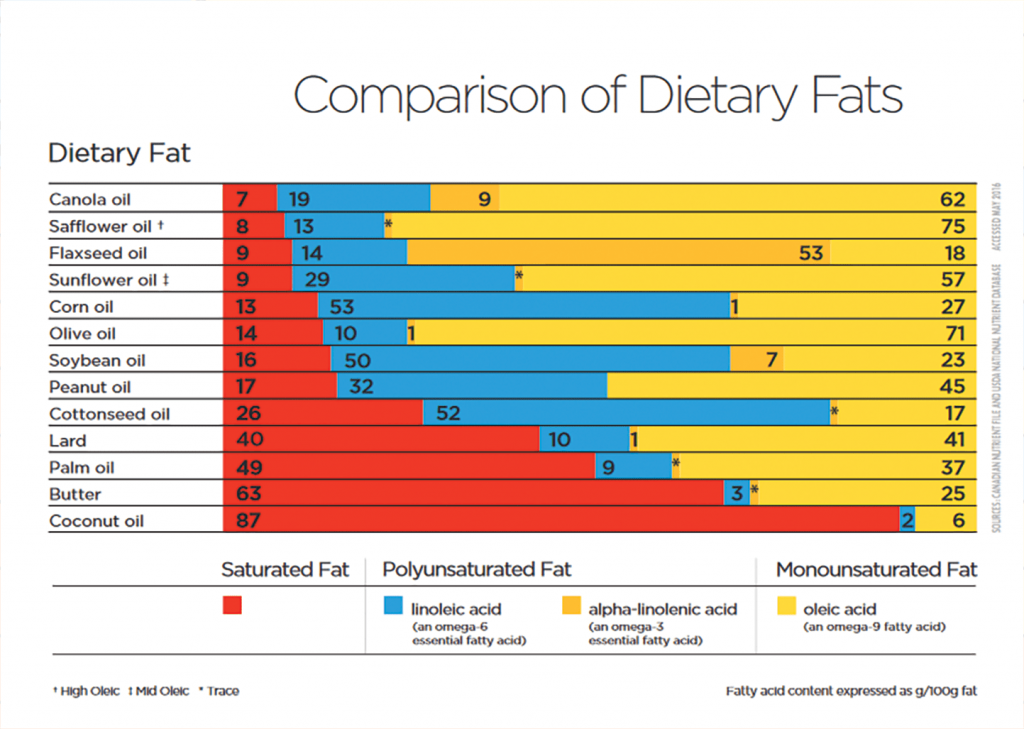 Dietary Fats Chart in English
